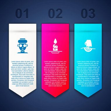 Set Facial cosmetic mask, Aroma candle and Massage. Business infographic template. Vector. icon
