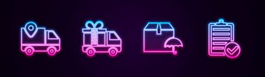 Set line Delivery tracking, truck with gift, package umbrella and Verification of delivery list. Glowing neon icon. Vector. icon