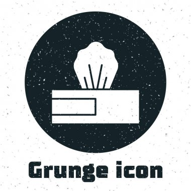 Grunge Wet wipe pack icon isolated on white background. Monochrome vintage drawing. Vector.. icon