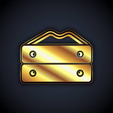 Gold Bag of flour icon isolated on black background.  Vector icon