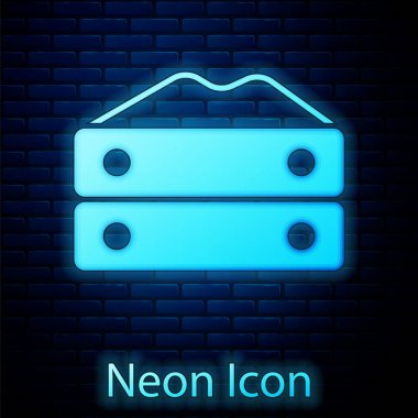 Glowing neon Bag of flour icon isolated on brick wall background.  Vector icon