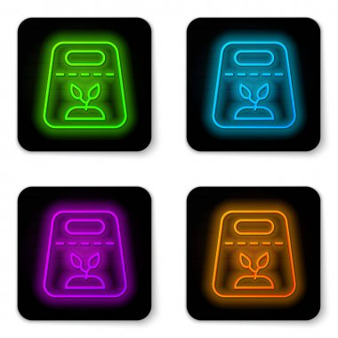 Glowing neon line Pack full of seeds of a specific plant icon isolated on white background. Black square button. Vector icon