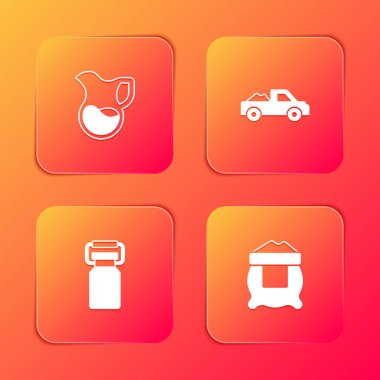 Set Jug glass with milk, Pickup truck, Can container for and Bag of flour icon. Vector icon