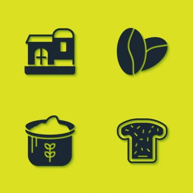 Set Farm house, Bread toast, Bag of flour and Coffee beans icon. Vector icon
