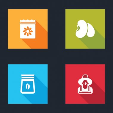 Set Pack full of seeds of plant, Beans, Bag coffee beans and Farmer in the hat icon. Vector icon