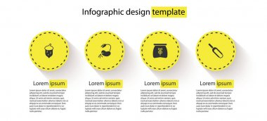 Set Acorn, oak nut, seed, Sprout, Bag of flour and Scoop. Business infographic template. Vector icon