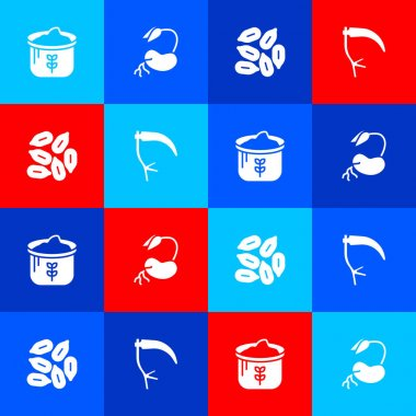 Set Bag of flour, Sprout, Seed and Scythe icon. Vector icon