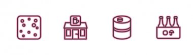 Set line Beer bubbles, Metal beer keg, Store building of shop and Pack bottles icon. Vector icon