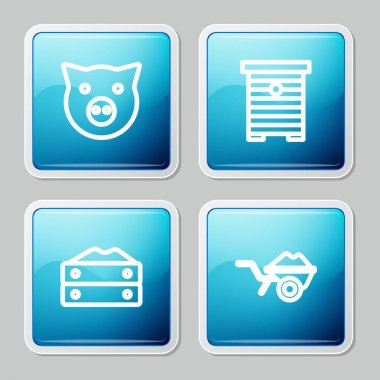 Set line Pig, Hive for bees, Bag of flour and Wheelbarrow with dirt icon. Vector icon
