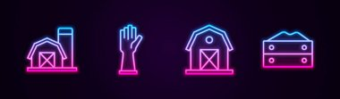 Set line Farm house, Rubber gloves,  and Bag of flour. Glowing neon icon. Vector icon