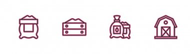 Set line Bag of flour, Pack full seeds plant,  and Farm house icon. Vector icon