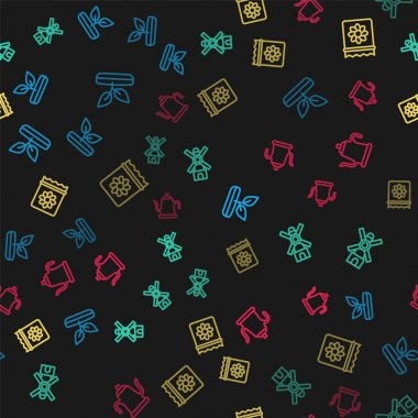 Set line Sprout, Windmill, Pack full of seeds of plant and Watering can on seamless pattern. Vector icon