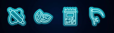 Set line Rolling pin on dough, Seed, Pack full of seeds of plant and Scythe. Glowing neon icon. Vector icon
