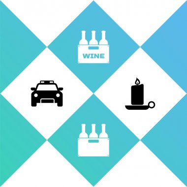 Set Police car and flasher, Bottles of wine in box, and Burning candle candlestick icon. Vector. icon