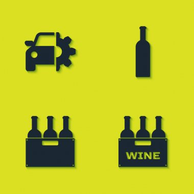 Set Car service, Bottles of wine in box, and icon. Vector. icon