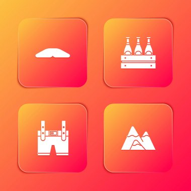 Set Homemade pie, Pack of beer bottles, Lederhosen and Mountains icon. Vector. icon