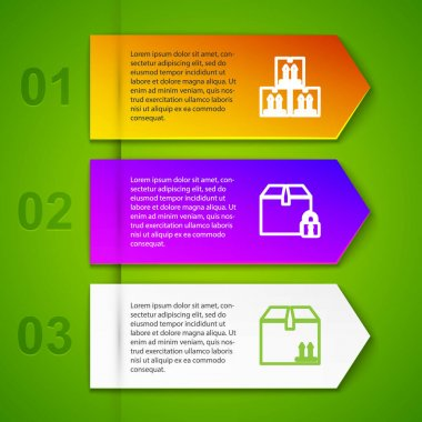Set line Cardboard box with traffic, Locked package, and Umbrella and rain drops. Business infographic template. Vector. icon