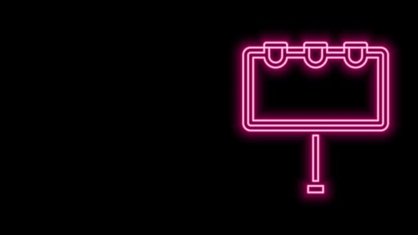 Glowing neon line Blank big billboard with lights icon isolated on black background. 4K Video motion graphic animation