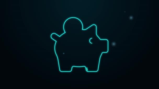 Zářící neonová čára Ikona banky Čuňas izolovaná na černém pozadí. Úspora ikon nebo hromadění peněz, investice. Grafická animace pohybu videa 4K