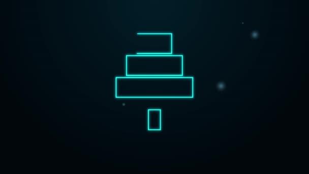 Ragyogó neon vonal Torta ikon elszigetelt fekete háttérrel. Boldog szülinapot! 4K Videó mozgás grafikus animáció