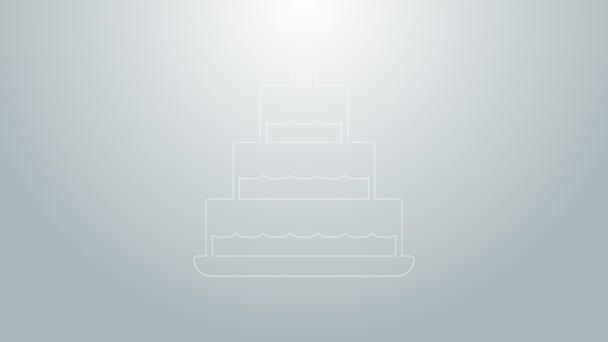 Kék vonal Torta égő gyertyák ikon elszigetelt szürke alapon. Boldog szülinapot! 4K Videó mozgás grafikus animáció