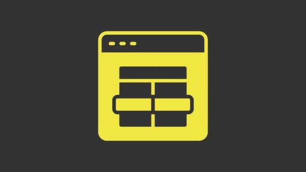 Ikona žlutého MySQL kódu izolovaná na šedém pozadí. Symbol HTML kódu pro návrh webové stránky. Grafická animace pohybu videa 4K