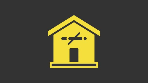Yellow No smoking at home icon isolated on grey background. Area no smoking house. 4K Video motion graphic animation