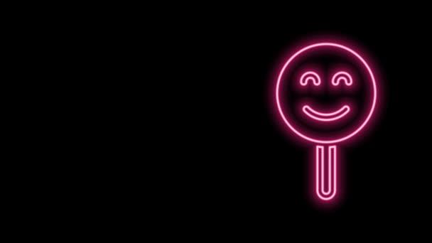 Žhnoucí neonová čára Ikona úsměvu na černém pozadí. Usmívající se emotikon. Symbol šťastného úsměvu. Grafická animace pohybu videa 4K