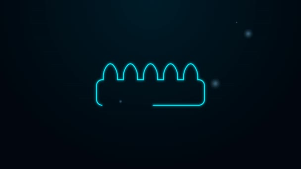Zářící neonová čára Sada falešných nehtů pro ikonu manikúry izolovaných na černém pozadí. Barevná paleta laku pro prodloužení nehtů. Umělé nehty. Grafická animace pohybu videa 4K