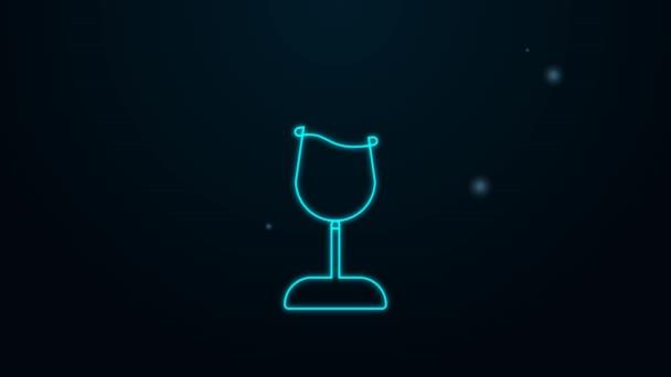 Leuchtende Neon-Linie Weinglas-Symbol isoliert auf schwarzem Hintergrund. Weinglasschild. 4K Video Motion Grafik Animation