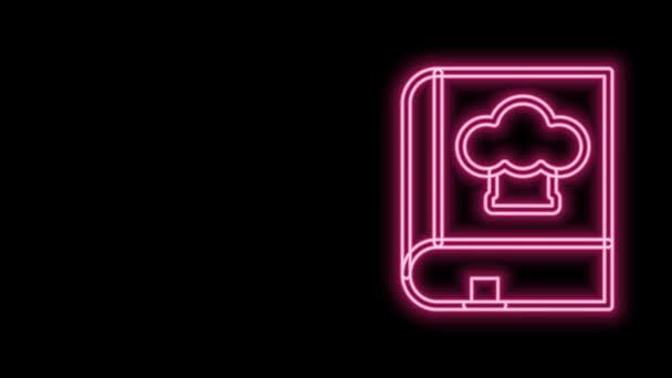 Leuchtende Leuchtschrift Kochbuch-Symbol isoliert auf schwarzem Hintergrund. Kochbuch-Ikone Rezeptbuch. Gabel- und Messersymbole. Bestecksymbol vorhanden. 4K Video Motion Grafik Animation