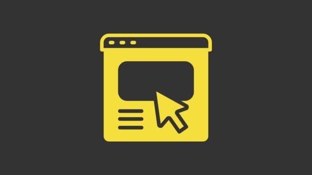 Gelbes UI oder UX Design Icon isoliert auf grauem Hintergrund. 4K Video Motion Grafik Animation