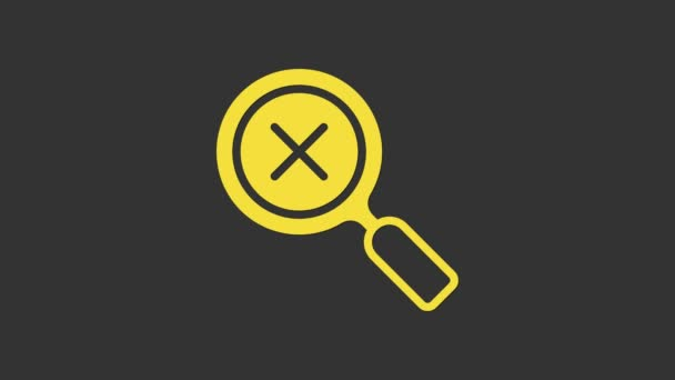 Yellow Magnifying glass and delete icon isolated on grey background. Search, focus, zoom, business symbol. 4K Video motion graphic animation
