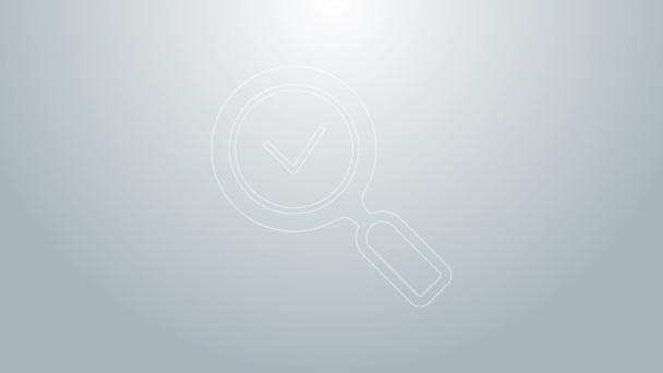 Modrá čára Lupa se značkou ikony izolované na šedém pozadí. Hledat, soustředit, přiblížit, obchodní symbol. Grafická animace pohybu videa 4K