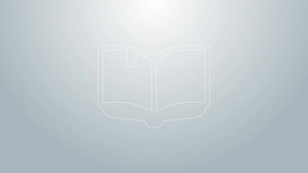 Blue line Open book icon isolated on grey background. 4K Video motion graphic animation