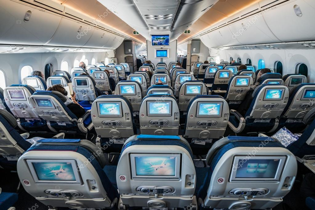 passengers sits in boeing 787 dreamliner of lot polish airlines before flying start in warsaw photo by fotokon