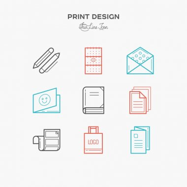 Flat line icons of Print design products, from pamphlet and booklet to greeting card, calendar, folder, flayers, labels, souvenirs, bags and package.