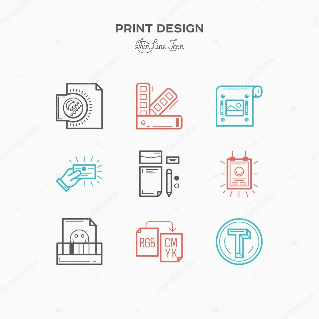 Color printing test - Flat Line Icons Of Print Design Process From Color Selection And Coloring Test To Color Printing