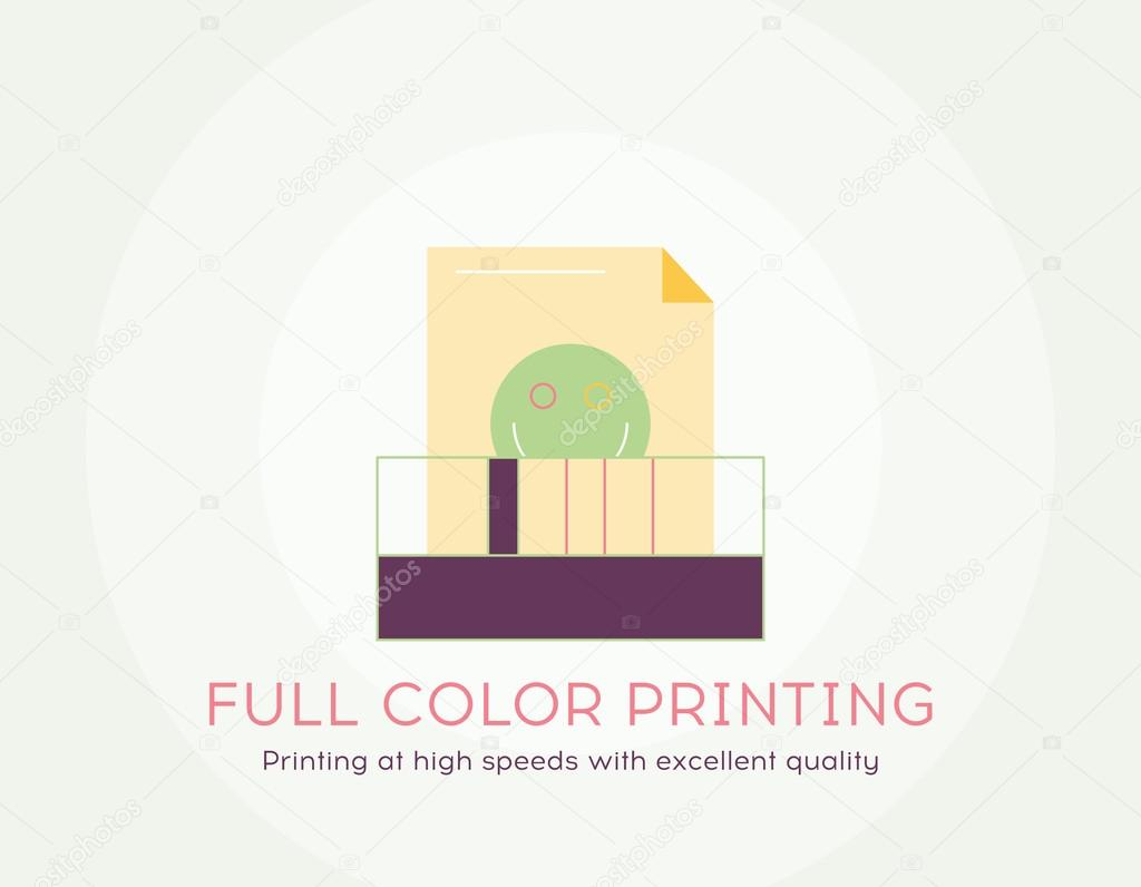 Color printing quality - Full Color Printing Icon Thin Line Flat Design Of Printing At High Speeds With Excellent Quality Flat Modern Color Icons For Printing Industry And Graphic