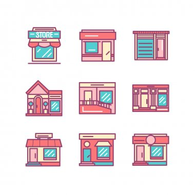 Shops buildings and architecture icons sings set. Thin line art