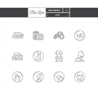 Line icons Set of Farm objects and tools elements. Farm, farm animals, poultry, organic farming, farm house, tractor, cultivating corn, spring water.