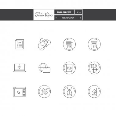 Thin line icon set of web design objects elements. Graphic design industry, typographic industry Logo icons.
