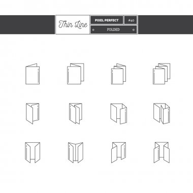 Thin line icon set of Folded objects. Scoring scheme booklets, print design, printing house objects.