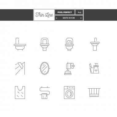 Line Icons Set of Bath Room icons set. Shop furniture, household goods and appliances objects.