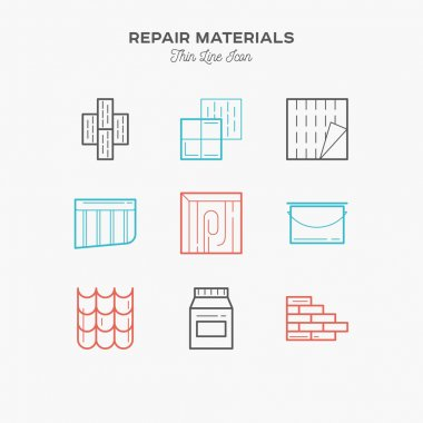 Materials for Repair and construction, thin line color icons set