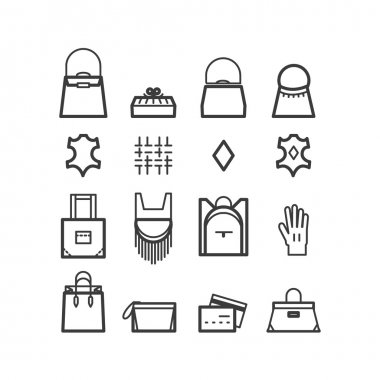 bags icons. women bags icons, bags shop icons. Icons for design.