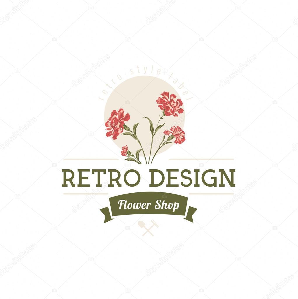 Logotipo Vintage Flores Clavel Flores Mano Dibujado Elemento De