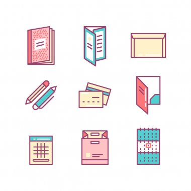 print product thin line color icons
