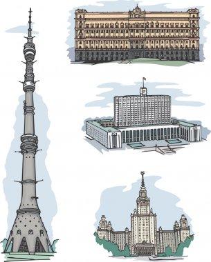 KGB, White House, MSU and Ostankino TV tower