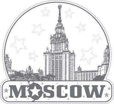 Moscow, Russia - sticker with the MSU building